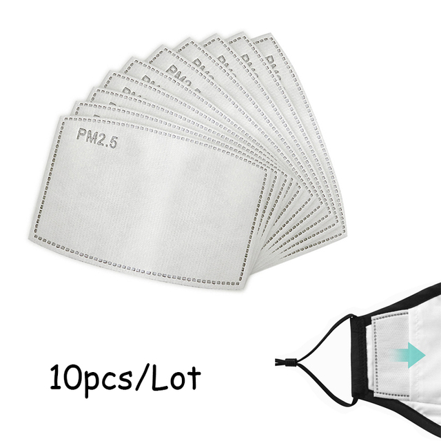 PM2.5 Activated Carbon Filter Paper 10Pcs/Lot 5 Layers For Adult Children Kids Mouth Mask Anti Dust Masks Health Care