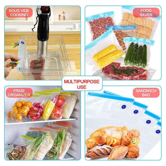 Kit de sacs pour cuisinières-25 sacs scellés Sous Vide pour aliments réutilisables, cuiseur Sous Vide pratique pour le stockage et la cuisson des aliments, 2 pompes à main, 4