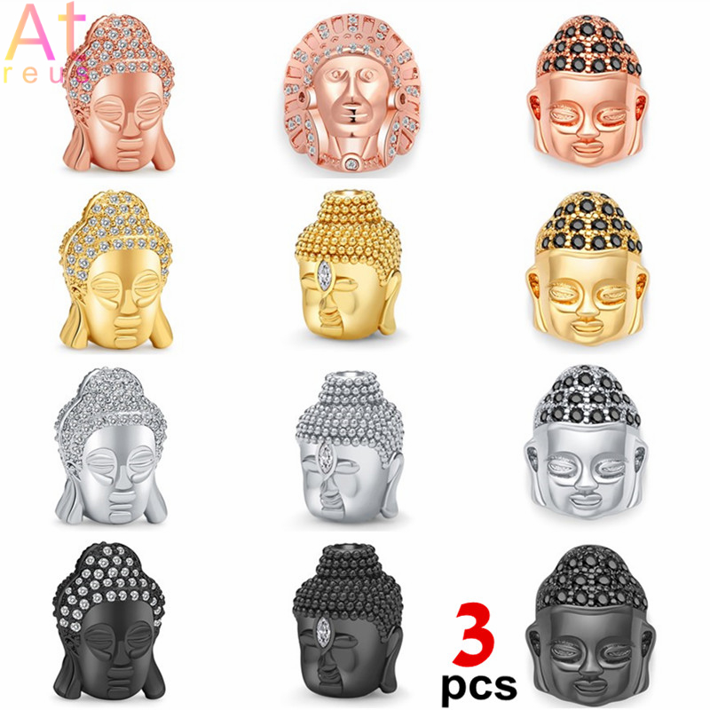 3 pçs cabeça de buda charme contas de cobre incrustações aaa zircão guanyin espaçador indiano rosário contas para diy jóias fazendo pulseira tornozeleira