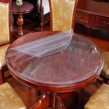 Toalha de mesa de jantar redonda da esteira de mesa descartável da anti-queimadura impermeável do pvc do hotel da tabela redonda de vidro macio