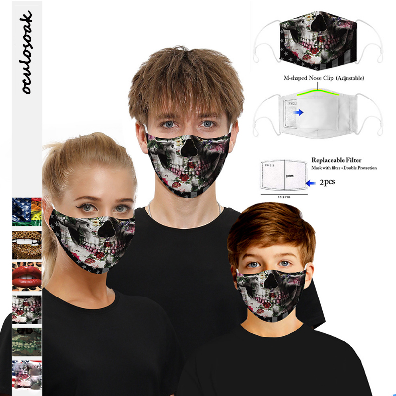 New 3D Skull Digital Printing Dustproof And Washable Adjustable Earhook With Filter Chip