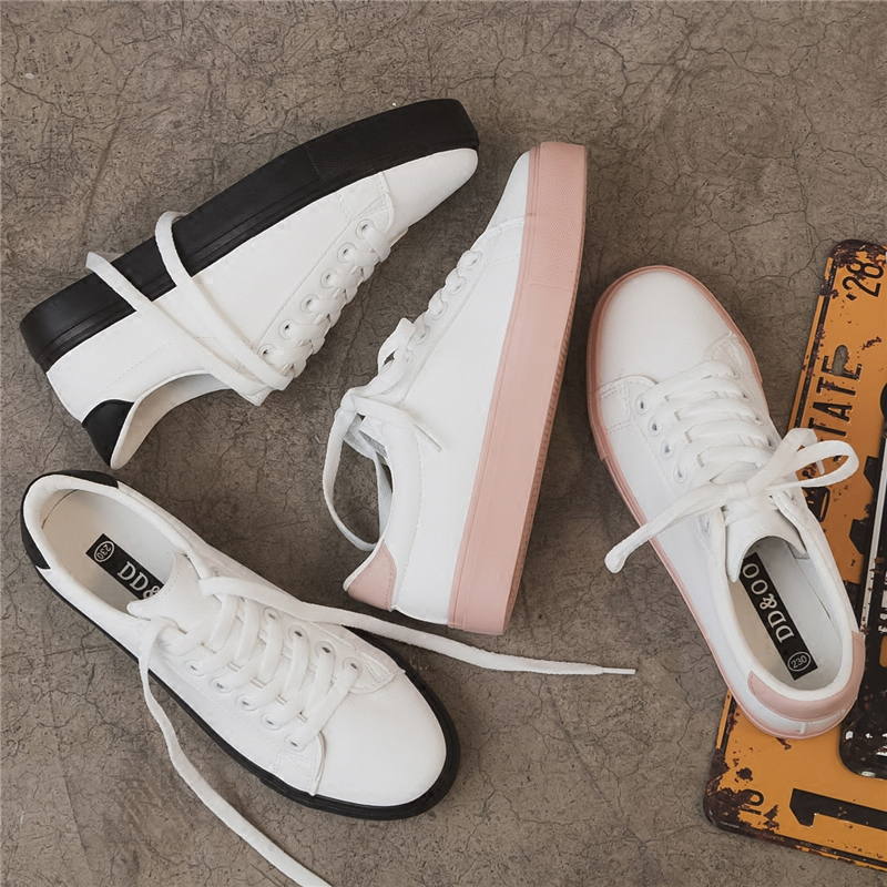 Fashion Women Shoes Casual 2019 New Spring High Platform PU Leather Platform Simple Women Casual Mixed Colors Shoes Sneakers