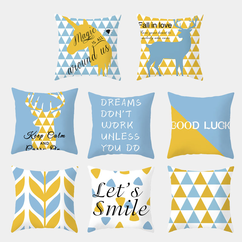 Light Blue Geometric Cushion Cover Polyester Unicorn Alphabet Print Decorative Cushion Throw Pillow Home Decoration Pillow Cover