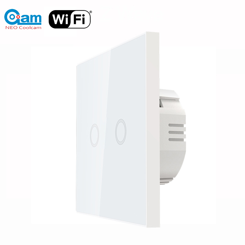 NEO Coolcam EU Smart Wifi Wall Touch Light Switch 2 Gang WiFi Remote Smart Home Controller Work With Alexa Google Home