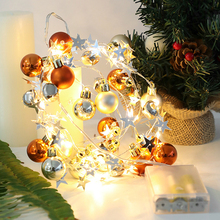 LED Light String Wishing Tree Drift Bottle Round Ball Bow Bell Battery Christmas Garlands Fairy For New Year s Decoration