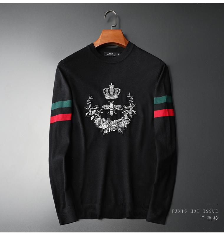 New 19 Men Luxury Gentleman Cotton Embroidery Bee Striped Crown Casual Sweaters Pullover Asian Plug Size High Quality Drake #M99