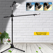 Adjustable Phone Photograph Shooting Bracket Stand with Boom Arm+LED Light Photo Studio Continuous Lighting Kits for Live Video