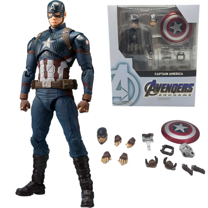 Shf Marvel Avengers 4 Endgame Marvel Americano Captain America Action Figure Model Toy Doll Regalo per I Bambini