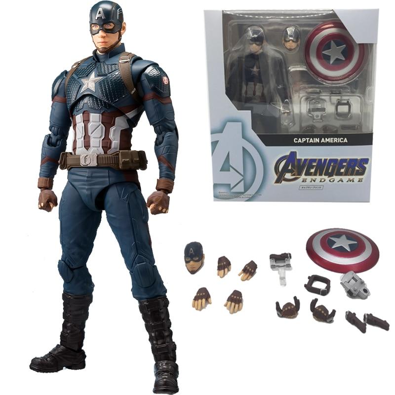 SHF Marvel Avengers 4 Endgame Marvel American Captain America Action Figure Model Toy Doll Gift For Kids