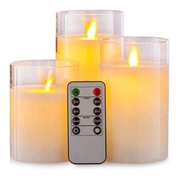 ¡Producto en oferta! Lámpara LED de vela de vidrio eléctrica sin llama pilar Real cera con temporizador de Control, paquete de 4 pulgadas 5 pulgadas 6 pulgadas