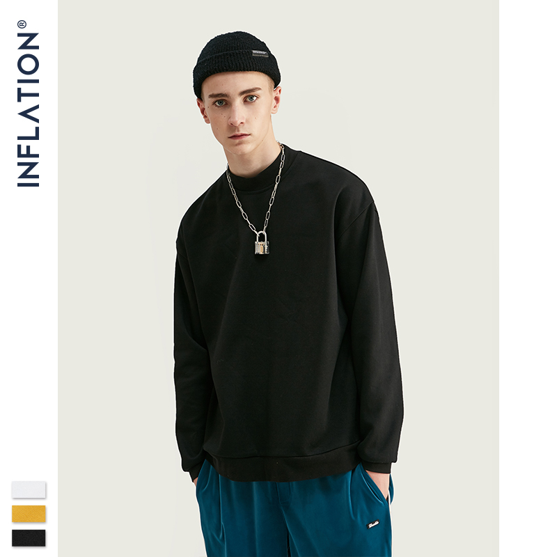INFLATION 2019 Oversized Men Sweatshirt With High Neck In Solid Color Loose Fit Mens Sweatshirt 50% Cotton Fleece Autumn 9627W