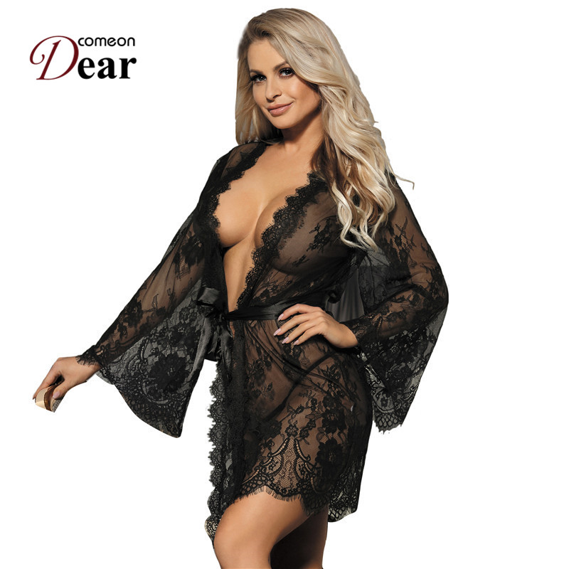 Comeondear Long Sleeve Bride Robe Women Plus Size 5XL Lace Nightgown For Full Sexy Bathrobe Transparent White Bata Mujer RB80528