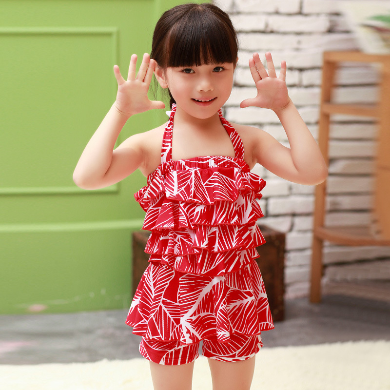 Haiyishan South Korea Korean-style New Style Boxer Split Women's CHILDREN'S Swimwear Lace-up Floral Cute Hot Springs Swimwear