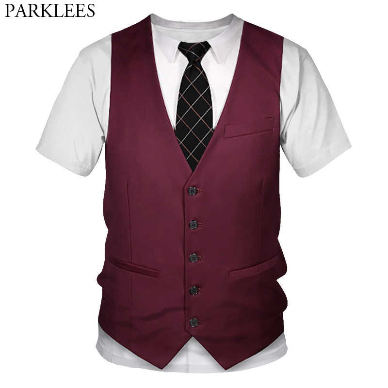 Funny Fake Suit Vest 3D Printed Tuxedo T-Shirt Men Casual Short Sleeve Tshirts Mens Harjuku Hip Hop Halloween Cosplay Costumes