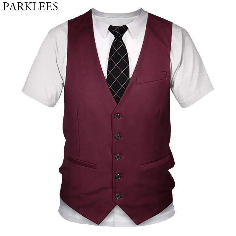 Funny Fake Suit Vest 3D Printed Tuxedo T-Shirt Men Casual Short Sleeve Tshirts Mens Harjuku Hip Hop Halloween Cosplay Costumes