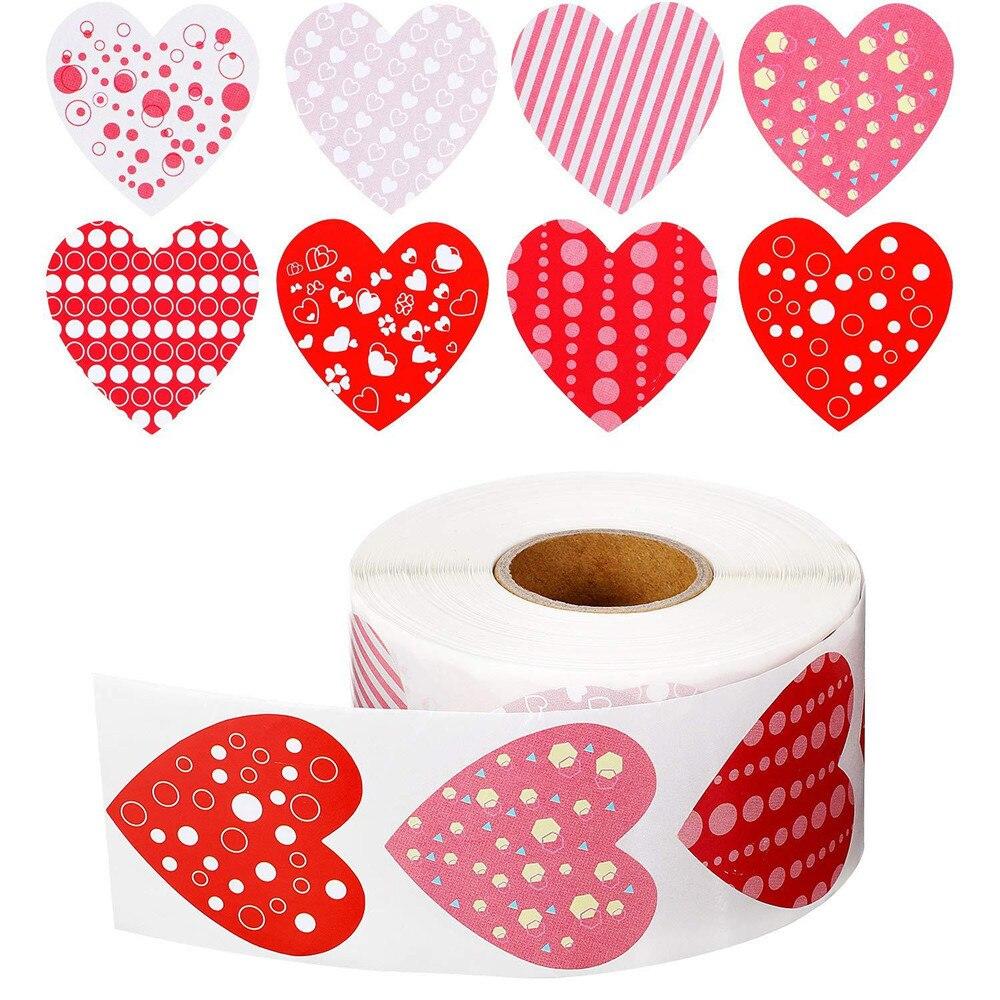 500 pz/rotolo amore etichetta a forma di cuore adesivo Scrapbooking confezione regalo sigillo festa di compleanno forniture di nozze adesivo di cancelleria