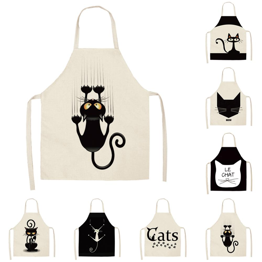 FYMX Cute Cat Apron European And American Style Creative Printing Sewing Clean Sleeveless Back Tie Linen Apron|Aprons| |  - title=
