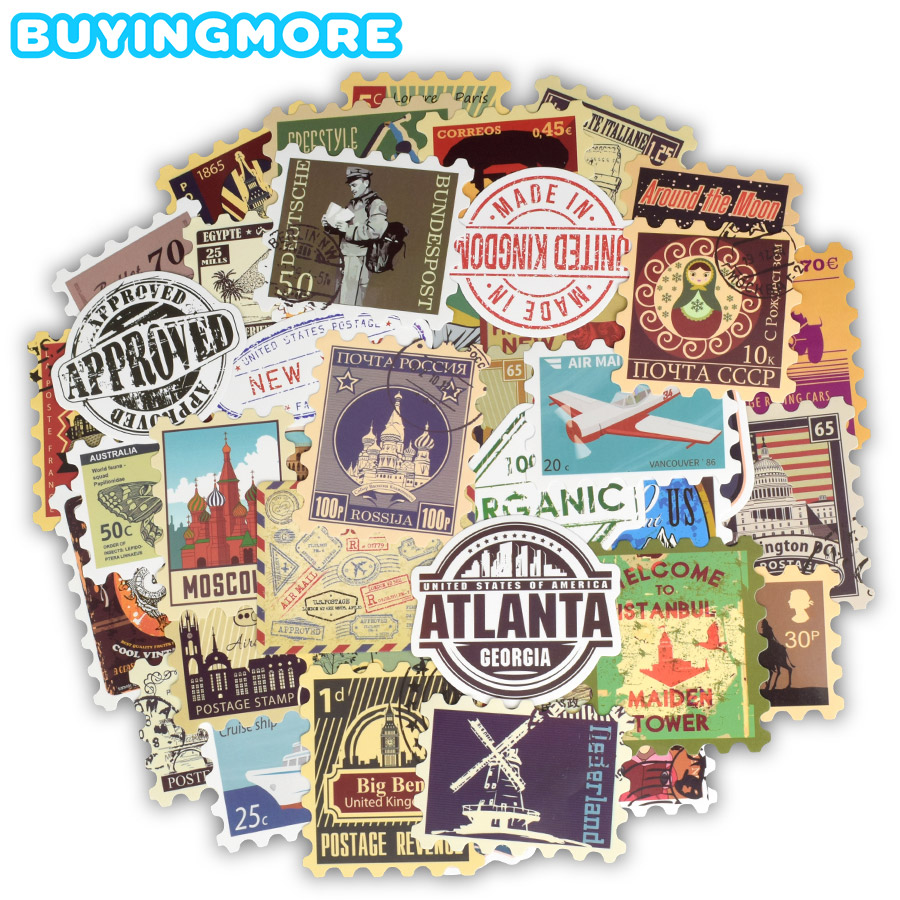 50 PCS Retro Stamp Stickers Toy Travel Landmark Building Postmark Postage Decals Sticker For DIY Suitcase Guitar Laptop Car Bike