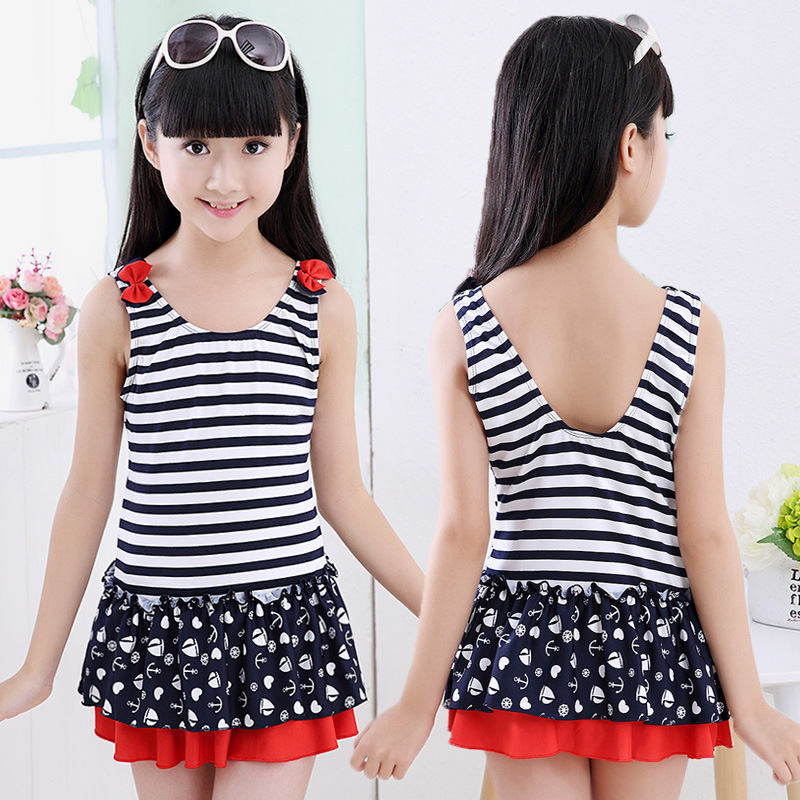 KID'S Swimwear Striped Skirt-One-piece Swimming Suit Girls Beach Small Middle And Large Girls Swimwear Currently Available Whole