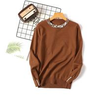Women's Jumper Sweater Women Winter Pullover Women Blue Black White Bead Loose Long Sleeves Knitted Sweaters Ladies Top Clothes red long sleeves loose jumper