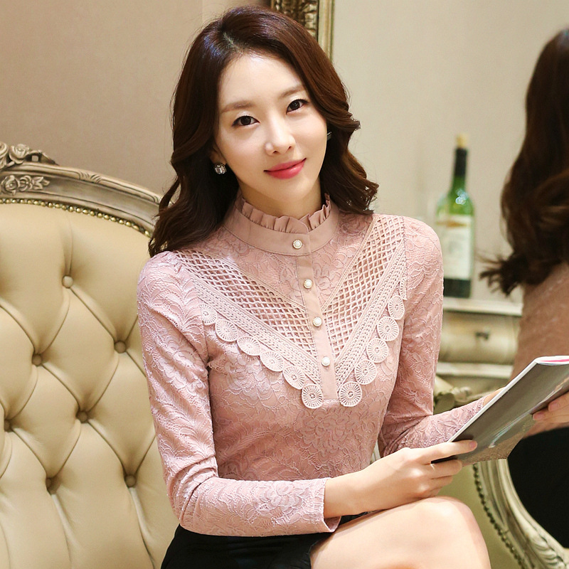 2019 Casual winter Autumn High Collar ruffless Lace Blouses Women Ladies Tops Lace Women Blouses Long Sleeve Shirt plus size 3XL 14