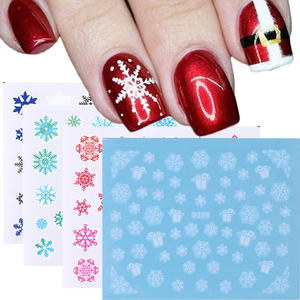 1PC Christmas Snowflakes Nail Stickers Decal Red White Green Water Transfer Nail Design For Manicure New Year's Sliders CHSTZ421