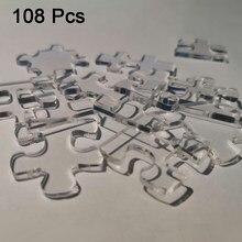 24/48/108 pçs/set Acrílico Transparente Alívio do Estresse Brinquedos de Plástico Jigsaw Puzzle Crianças Educacionais Para Crianças e Adultos Sobre 12 Anos