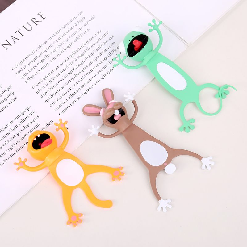 OOTDTY 3D Stereo Cartoon Lovely Animal Bookmark Cute Cat Rabbit Funny Student Kids Gift