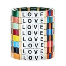 ZMZY Boho Bunte Charme Armband Femme Nette Elastische Brief Liebe Großhandel Böhmischen Regenbogen Armbänder für Frauen Schmuck Geschenk