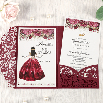 50pcs Burgundy laser cut flor Pocket Invitations Greeting Cards with Envelope Customized Party,CW0008R