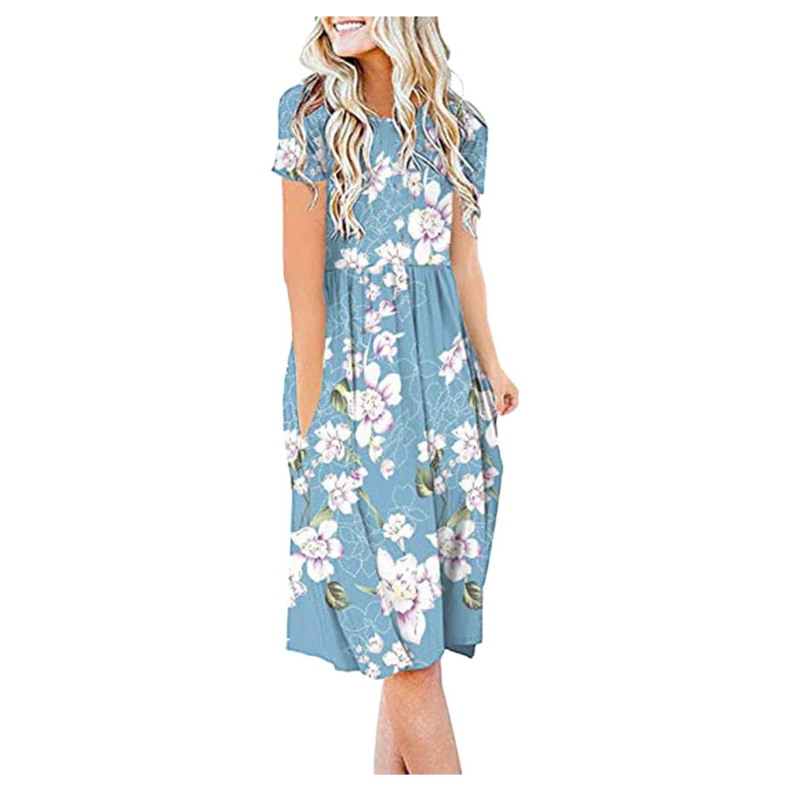 Women Summer Casual Short Sleeve Dresses Empire Waist Dress with Pockets 3