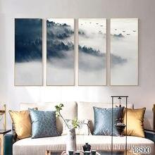 4 шт абстрактная картина маслом на холсте в китайском стиле
