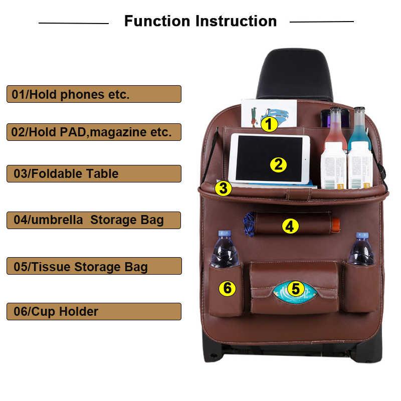 รถที่นั่งกลับ Organizer กระเป๋าจัดเก็บข้อมูลผู้ถือรถ Goods Universal PU หนังออโต้กลับที่นั่ง Protector อุปกรณ์เสริม