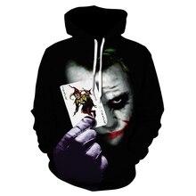 Харадзюку модная толстовка с 3D принтом клоуна покера Мужская брендовая Повседневная Спортивная толстовка с капюшоном Размер Джокер зимняя куртка для мужчин
