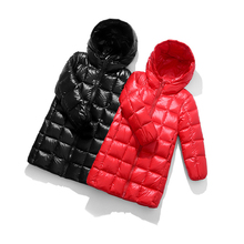 цена на Fashion Children Jackets For Boys Girls Autumn Winter Thickened Hooded Cotton-padded Down Coat Kids Warm Long Outerwear Parkas
