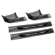 цены Car Door Sill Scuff Plate For Tesla Model 3 2019 2020 Stainless SteelInternal Welcome Pedal Threshold Bar Cover Trim Strip