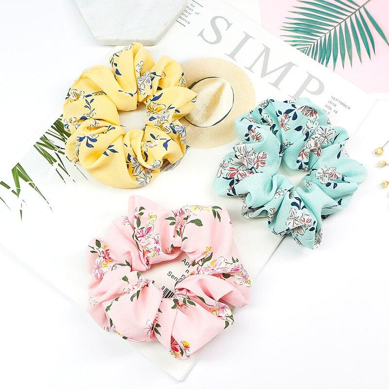 2019 New Summer Floral Hair Scrunchie Turban Scrunchie Flower Hairband For Women Ponytail Holder Hair Ties Girl Accessories