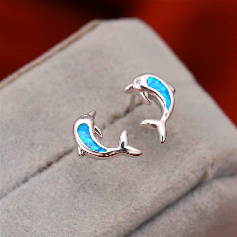 Blue/White Opal Cute Dolphin Earrings For Women White Gold Fire Stone Stud Earrings Animal Jewelry Female Wedding Birthday Gifts