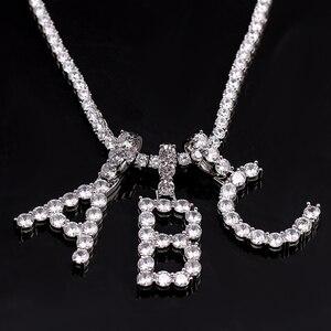 Image 4 - Letters Pendants Necklaces Women Letter Initial Necklace Tennis Chain Zircon Hip Hop Bling jewelry Iced Out Alphabet Pendant