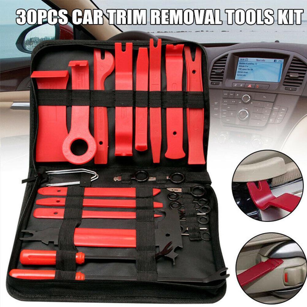 30pcs/set Automobile Audio Door Clip Panel Trim Dash Auto Radio Removal Pry Tools Set Car Panel Removal Tool Trim Panel Clip