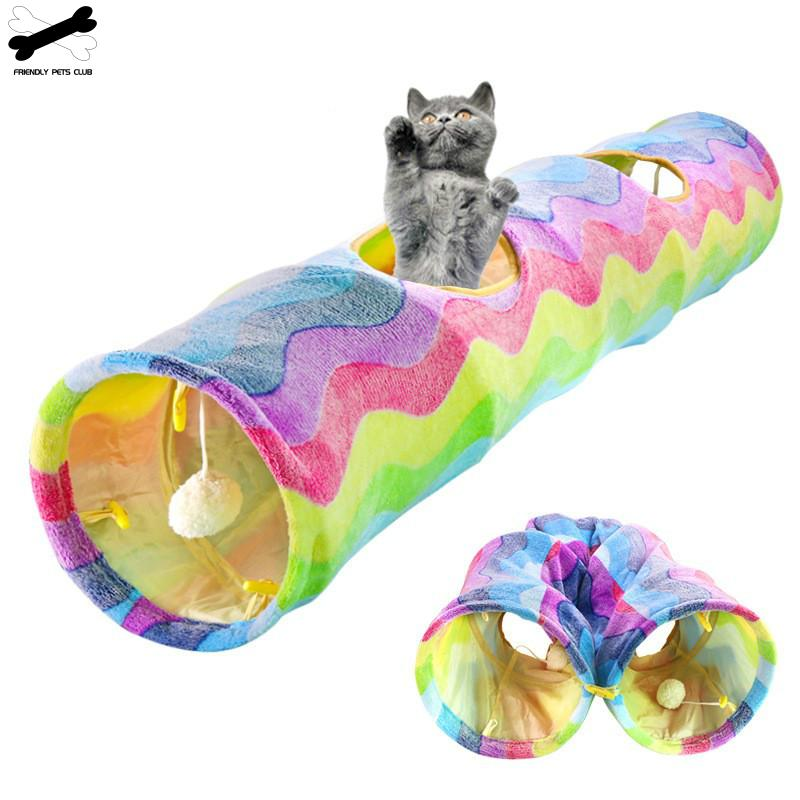 Rainbow Cat Tunnel Scratch-resistant Cat Training Toy Foldable Rabbit Hole Indoor Outdoor Pet Tube image