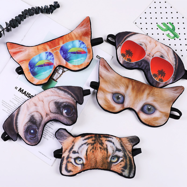 1 PC Cute Animal Shade Relax Nap Eye Cover Cartoon 3D Animal Dog Cat Sleep Eyeshade Eye Mask Eyepatch Blindfold for Travel