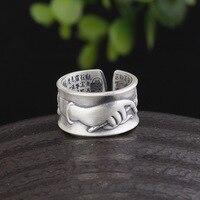 product 999 fine silver matte black Thai buddhist lotus heart sutra finger citron ring opening men's and women's joker