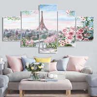 Laeacco 5 Panel pared arte París Torre primavera jardín carteles e impresiones lienzo pintura sala de estar dormitorio boda decoración del hogar