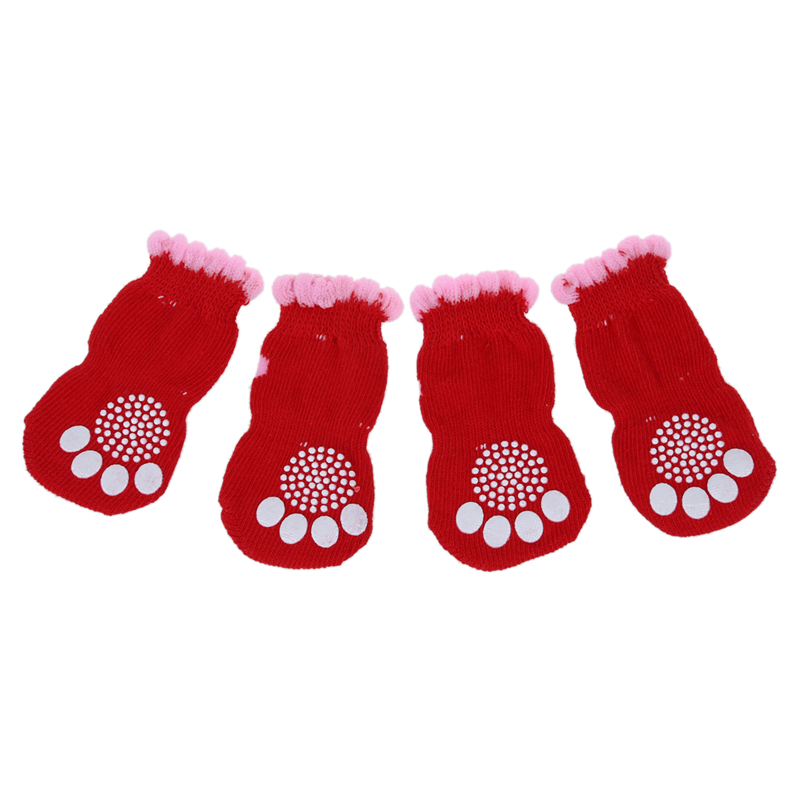2 Pairs Size L Antislip Bottom Pet Dog Doggie Puppy Socks Red Pink