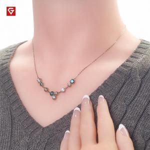 Image 2 - Gigajewe 3.6ct Ef Cyaan Gouden Ronde Cut 18K White Gold Plated 925 Zilveren Moissanite Ketting Diamant Test Geslaagd Sieraden gift