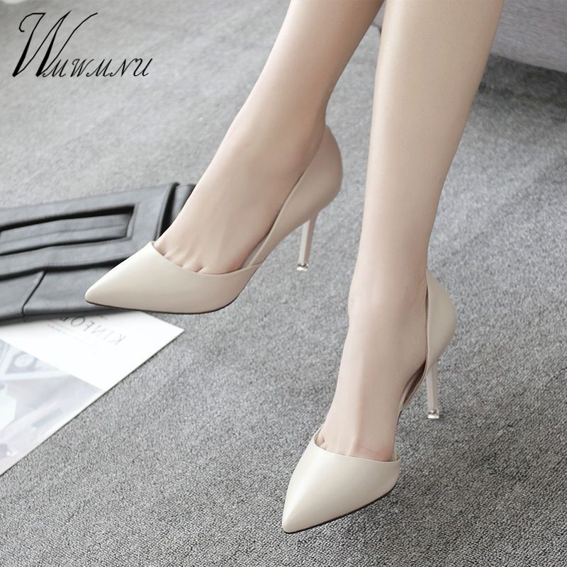 Wild Work Stiletto Pumps PU Leather Nude Black Office Lady High Heels 5cm 7cm Pointed Toe Shoes Women Casual Spring New Tacones