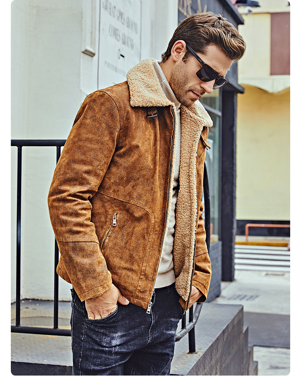 H3e7911f1194f409c82fdc192d2b55a64V FLAVOR New Men's Genuine Leather Motorcycle Jacket Pigskin with Faux Shearling Real Leather Jacket Bomber Coat Men