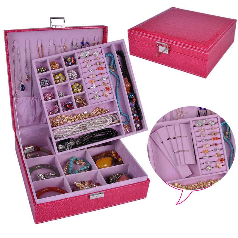 Кожаная коробка для ожерелья ювелирных изделий, квадратное обручальное кольцо, органайзер для украшений, держатель для сережек, Большая Сумка из органзы, Упаковочная шкатулка