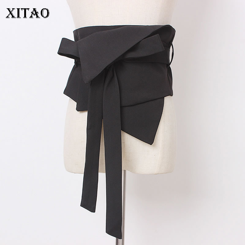XITAO Black Bandage Cummerbunds Women Fashion New 2019 Autumn Irregular Small Fresh Casual Minority Casual Cummerbunds GCC2453